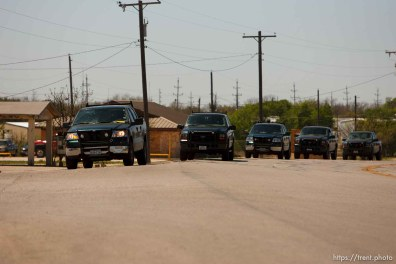 "Eldorado - State Game Warden trucks during raid on the FLDS YFZ ""Yearning for Zion"" compound outside of Eldorado, Texas, Saturday, April 5, 2008."