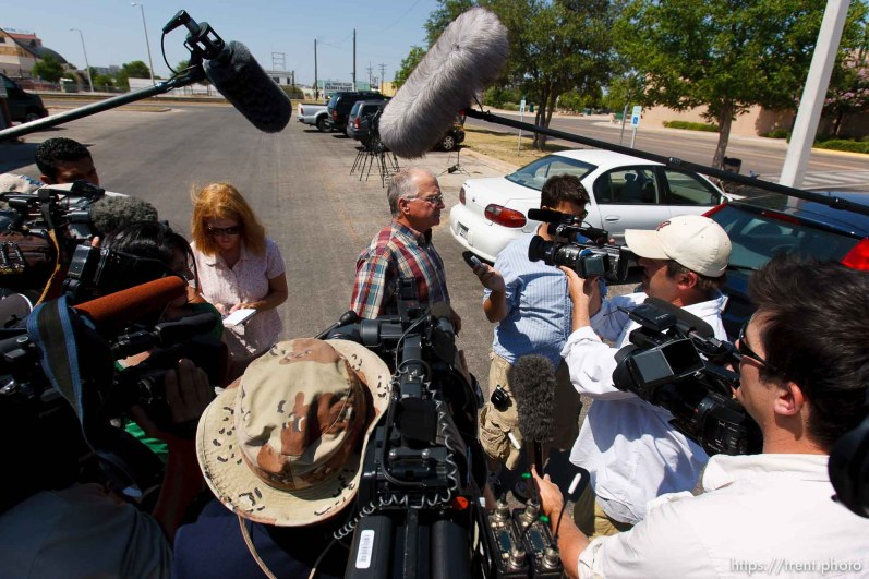 San Angelo - Attorney Jimmy Stewart is chased to his car by reporters as left a gathering of attorneys at the DFPS at the Ralph R. Chase building Sunday, June 1, 2008 to hammer out an agreement to return over 450 children that were taken from the YFZ ranch. brooke adams ben winslow
