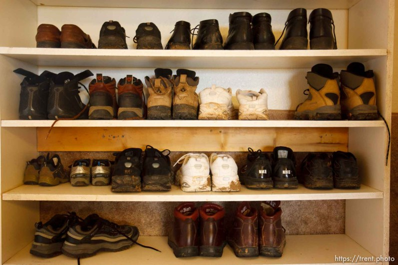 Westcliffe - FLDS shoe rack. Monday, July 28, 2008.
