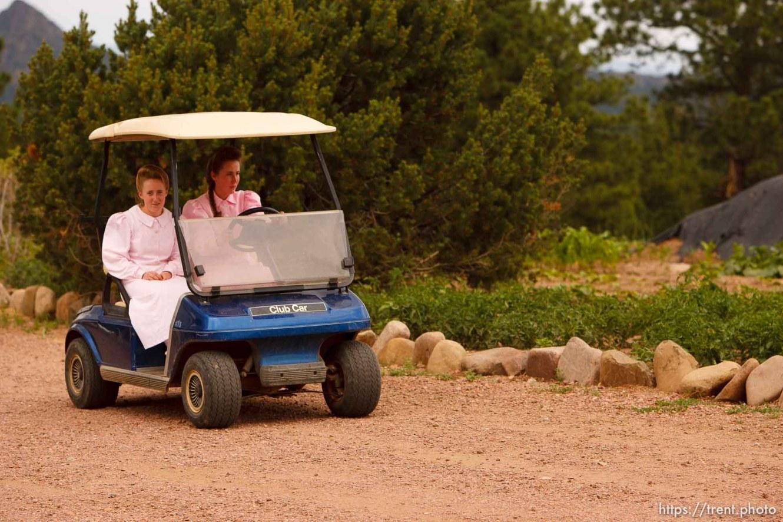 Westcliffe - . Monday, July 28, 2008. girls and golf cart