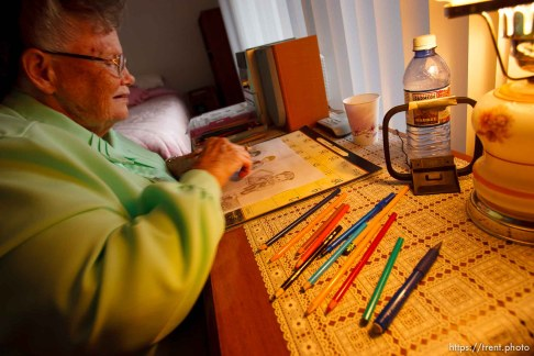 Westcliffe - . Monday, July 28, 2008. woman coloring reading books