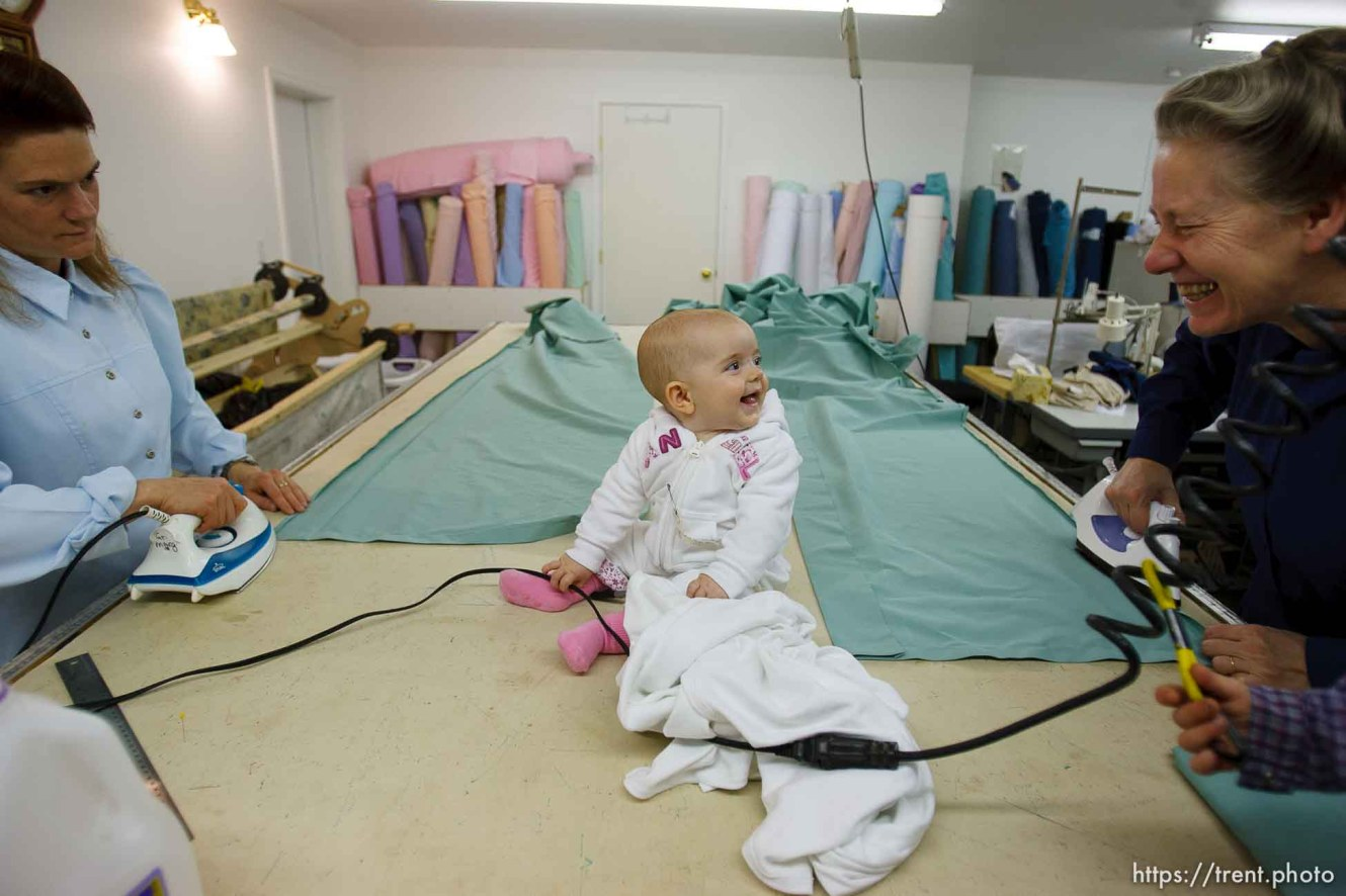 Westcliffe - . Monday, July 28, 2008. baby in sewing room