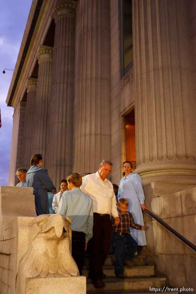 Salt Lake City - Salt Lake City - FLDS members leave the Federal Courthouse Wednesday November 12, 2008 where Judge Dee Benson did not issue a ruling to stop the proposed sale of UEP land including Berry Knoll, a site the FLDS say has religious value. 11.12.2008