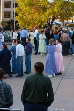 St. George - Members of the FLDS church line up in front of the 5th district courthouse Friday November 14, 2008 to show their opposition to the proposed sale of UEP trust land including Berry Knoll, a site the FLDS say has religious value.