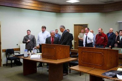 St. George - A hearing at the 5th district courthouse Friday November 14, 2008 on the proposed sale of UEP trust land including Berry Knoll, a site the FLDS say has religious value, was continued after the attorney general's office stepped in and pressured both sides to seek a settlement. willie jessop, jim bradshaw