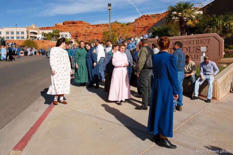St. George - FLDS members outside the courthouse. A hearing at the 5th district courthouse Friday November 14, 2008 on the proposed sale of UEP trust land including Berry Knoll, a site the FLDS say has religious value, was continued after the attorney general's office stepped in and pressured both sides to seek a settlement.