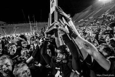 Salt Lake City - Bingham vs. Alta High School, 5A State Championship game Friday, November 21, 2008 at Rice-Eccles Stadium. Alta wins 21-17.. Friday November 21, 2008. alta's ammon olsen celebrates win,