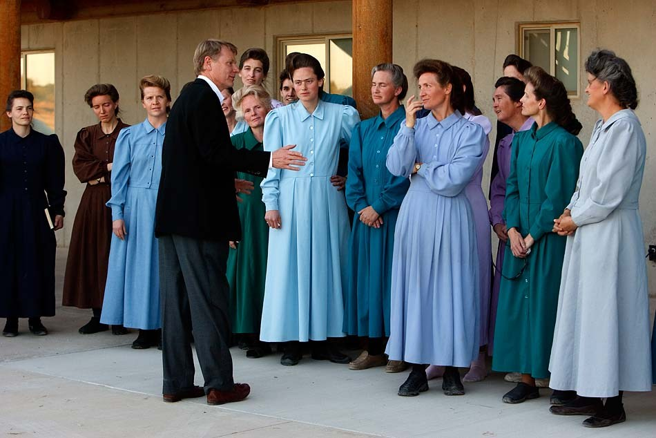 "Eldorado - FLDS women speak to the media after they were removed from their children Monday, April 14, 2008, at the YFZ ""Yearning for Zion"" Ranch. This was the first time that the media was invited onto the ranch; 04.14.2008 rod parker"