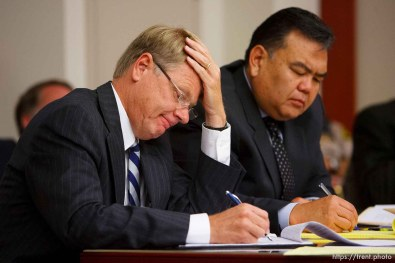 Salt Lake City - A hearing held at the Matheson Courthouse Wednesday, July 29, 2009 to decide on the sale of the Berry Knoll property in the United Effort Plan (UEP) land trust. rod parker, ken okazaki