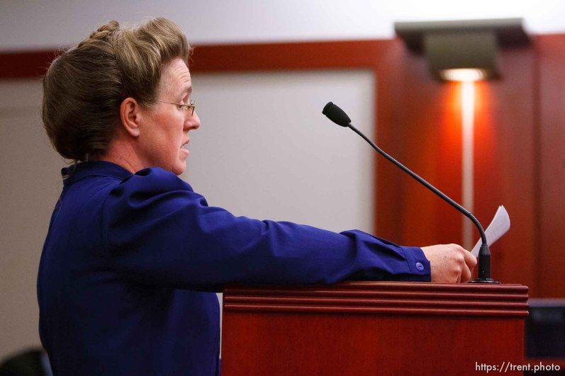 Salt Lake City - Mary Harker speaks at a hearing held in the Matheson Courthouse Wednesday, July 29, 2009 to decide on the sale of the Berry Knoll property in the United Effort Plan (UEP) land trust. mary harker