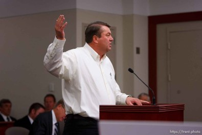 Salt Lake City - Willie Jessop speaks at a hearing held in the Matheson Courthouse Wednesday, July 29, 2009 to decide on the sale of the Berry Knoll property in the United Effort Plan (UEP) land trust. willie jessop