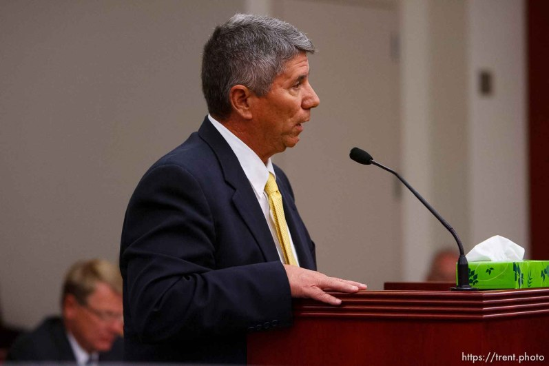 Salt Lake City - Robert Huddleston speaks at a hearing held in the Matheson Courthouse Wednesday, July 29, 2009 to decide on the sale of the Berry Knoll property in the United Effort Plan (UEP) land trust. robert huddleston