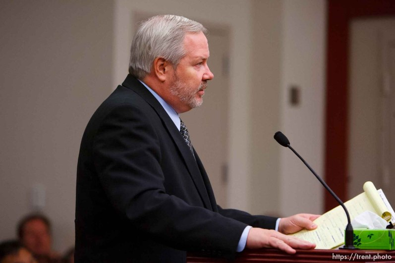 Salt Lake City - Roger Hoole speaks at a hearing held in the Matheson Courthouse Wednesday, July 29, 2009 to decide on the sale of the Berry Knoll property in the United Effort Plan (UEP) land trust.