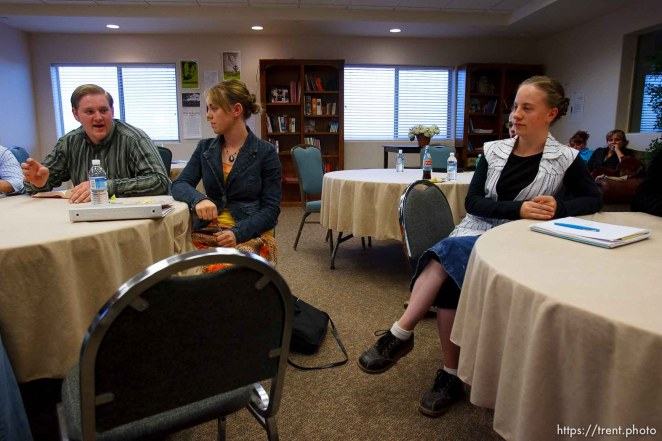 Centennial Park -at a meeting of Voice Box, Tuesday August 11, 2009. Levi Zitting, JoAnna Dockstader, Emily Williams