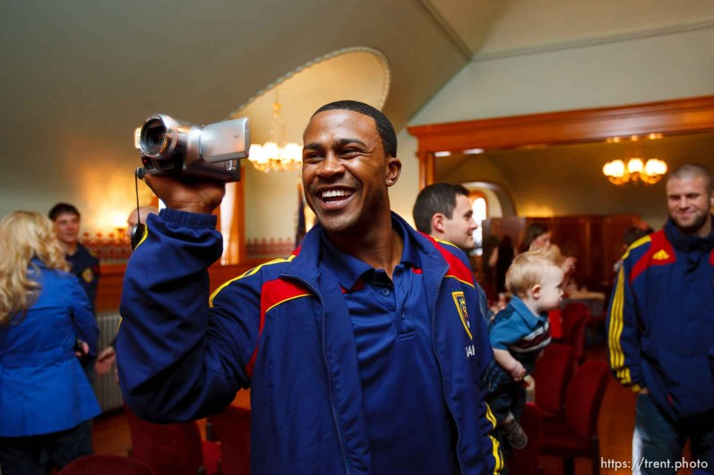 robbie findley. Celebration for Real Salt Lake's MLS Cup win Tuesday, November 24 2009.