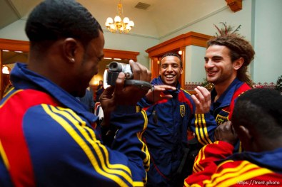 robbie findley, kyle beckerman, rachid el khalifi. Celebration for Real Salt Lake's MLS Cup win Tuesday, November 24 2009.