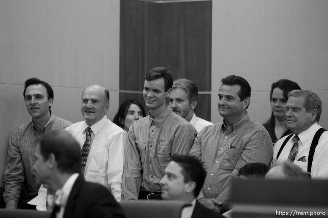 Trent Nelson | The Salt Lake Tribune In the gallery, people stand to show honor and respect to Warren Jeffs, leader of the FLDS Church, appeared before Judge Terry Christiansen in Third District Court Tuesday, September 7, 2010 in West Jordan, Utah. guy nielsen, wendell nielsen, mosiah jeffs, john wayman, merril jessop. back row gary batchelor and heidi mattingly foster
