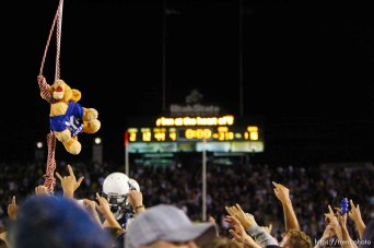 Trent Nelson | The Salt Lake Tribune cougar Cosmo in a noose, Utah State vs. BYU college football in Logan Friday, October 1, 2010.