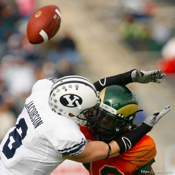 Trent Nelson   The Salt Lake Tribune Colorado State's Shaq Bell was called for pass interference on BYU receiver McKay Jacobson (6), during the first half. BYU vs. Colorado State, college football, Saturday, November 13, 2010.