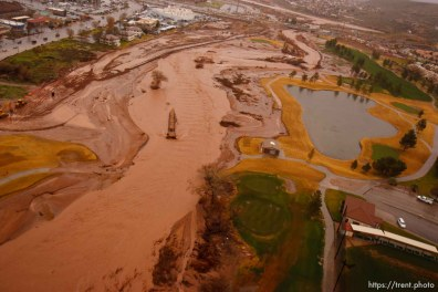 Trent Nelson | The Salt Lake Tribune Aerial views of flooding in St. George, Wednesday, December 22, 2010. Southgate golf course.