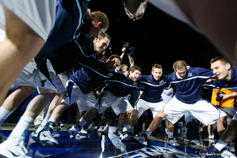 Trent Nelson | The Salt Lake Tribune pre-game huddle as BYU hosts Wyoming, college basketball in Provo, Utah, Saturday, March 5, 2011. BYU's Jimmer Fredette , BYU's Jackson Emery , BYU's Kyle Collinsworth
