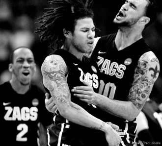 Gonzaga's Robert Sacre Gonzaga's Steven Gray as BYU defeats Gonzaga in the NCAA Tournament, men's college basketball at the Pepsi Center in Denver, Colorado, Saturday, March 19, 2011, earning a trip to the Sweet 16.