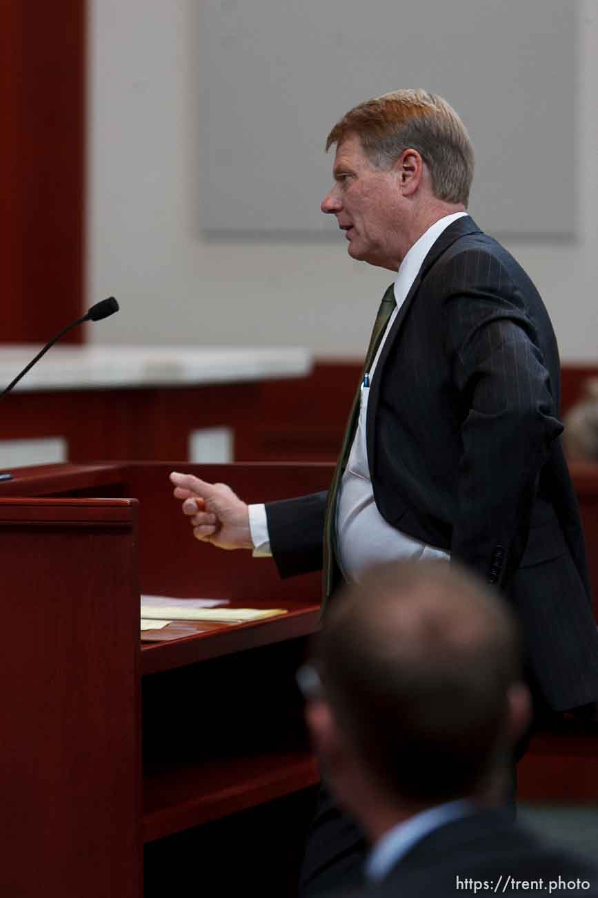 Trent Nelson | The Salt Lake Tribune Attorney Rod Parker addresses the Utah Supreme Court, who heard arguments in Salt Lake City, Utah, Tuesday, April 12, 2011, on cases involving the FLDS Church's United Effort Plan (UEP) land trust.