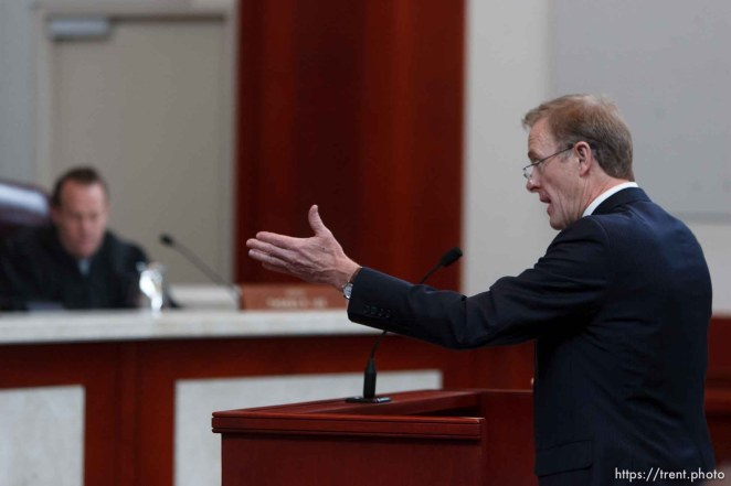 Trent Nelson | The Salt Lake Tribune Attorney Jeff Shields addresses the Utah Supreme Court, who heard arguments in Salt Lake City, Utah, Tuesday, April 12, 2011, on cases involving the FLDS Church's United Effort Plan (UEP) land trust.