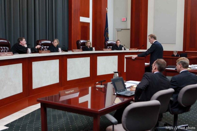 Trent Nelson | The Salt Lake Tribune Attorney Jeff Shields addresses the Utah Supreme Court, who heard arguments in Salt Lake City, Utah, Tuesday, April 12, 2011, on cases involving the FLDS Church's United Effort Plan (UEP) land trust.