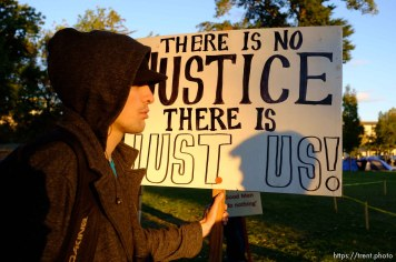 no justice just us sign, at Occupy Salt Lake, in Salt Lake City, Utah, Wednesday, October 26, 2011.