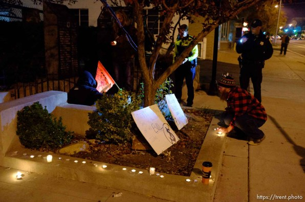 Trent Nelson | The Salt Lake Tribune About two dozen protesters with Occupy Salt Lake marched from Pioneer Park to the Public Safety Building in Salt Lake City, Utah on Wednesday, October 26, 2011. They lit candles to show appreciation for the Salt Lake City police, but to protest the actions of the police in Oakland (California).