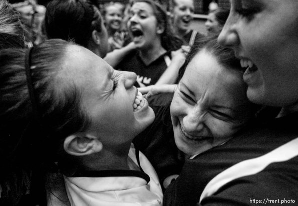 Trent Nelson | The Salt Lake Tribune Morgan's Jaesee Dye, Ashlee Gallen and Bailey Farris celebrate the championship as Morgan takes the 3A state high school volleyball championship, defeating Snow Canyon 3-0 at Utah Valley University in Orem, UT on Friday, October 28, 2011.