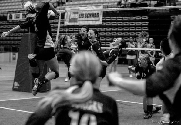 Trent Nelson | The Salt Lake Tribune Morgan takes the 3A state high school volleyball championship, defeating Snow Canyon 3-0 at Utah Valley University in Orem, UT on Friday, October 28, 2011.