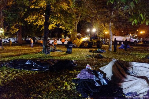 Trent Nelson | The Salt Lake Tribune Activists and homeless packed up their tents as Salt Lake City police cleared the Occupy Salt Lake tent city from Pioneer Park in Salt Lake City, Utah, Saturday, November 12, 2011.