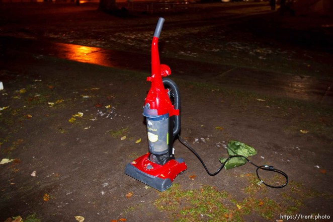 Trent Nelson | The Salt Lake Tribune Salt Lake City police cleared the Occupy Salt Lake tent city from Pioneer Park in Salt Lake City, Utah, Saturday, November 12, 2011. a vacuum found in a tent,
