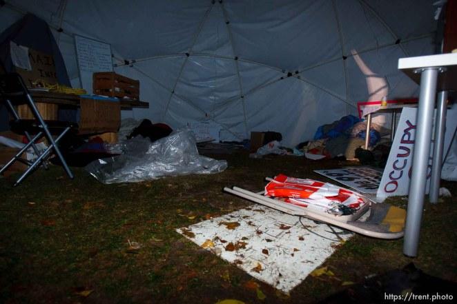 Trent Nelson | The Salt Lake Tribune Salt Lake City police cleared the Occupy Salt Lake tent city from Pioneer Park in Salt Lake City, Utah, Saturday, November 12, 2011. inside the free school tent.