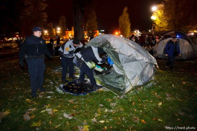 Trent Nelson | The Salt Lake Tribune Salt Lake City police cleared the Occupy Salt Lake tent city from Pioneer Park in Salt Lake City, Utah, Saturday, November 12, 2011.