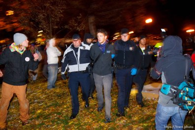 Trent Nelson | The Salt Lake Tribune Salt Lake City police cleared the Occupy Salt Lake tent city from Pioneer Park in Salt Lake City, Utah, Saturday, November 12, 2011. activist arrested