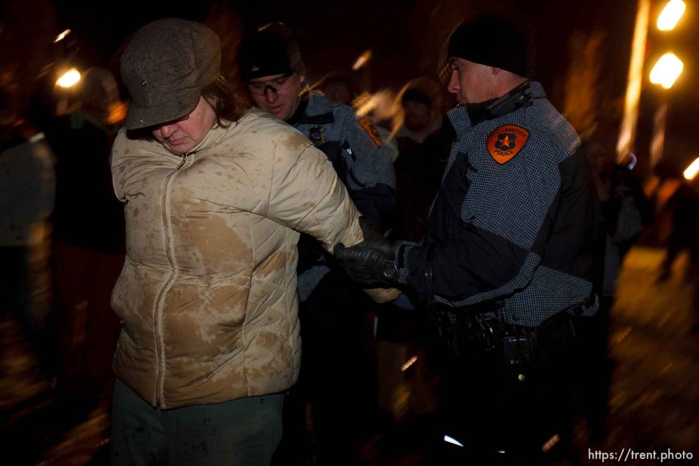 Trent Nelson | The Salt Lake Tribune Salt Lake City police cleared the Occupy Salt Lake tent city from Pioneer Park in Salt Lake City, Utah, Saturday, November 12, 2011. rachel carter arrested