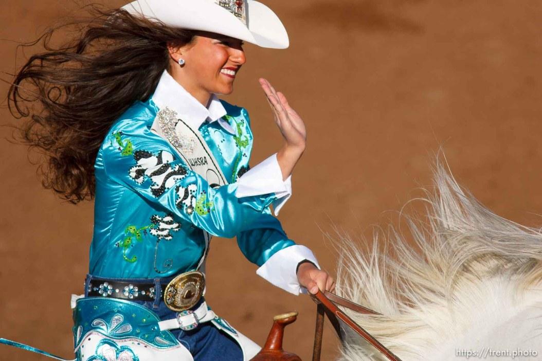 Trent Nelson | The Salt Lake Tribune junior Rodeo queen competition at the Utah High School Rodeo Finals Saturday, June 9, 2012 in Heber City, Utah.