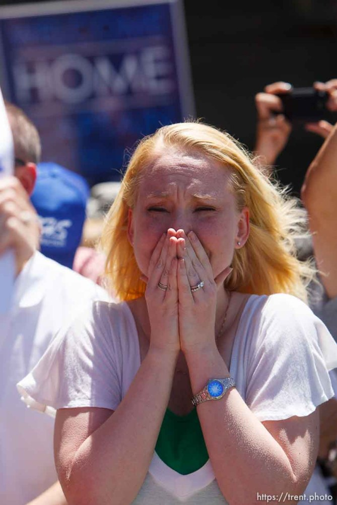 Trent Nelson | The Salt Lake Tribune Elizabeth Balinski is overcome with emotion as the plane carrying her husband, Justin, lands as the soldiers from the Utah Army National Guard's Second Battalion, 211th Aviation unit returned from a 12-month deployment to Afghanistan, Saturday, June 23, 2012 in Salt Lake City, Utah.
