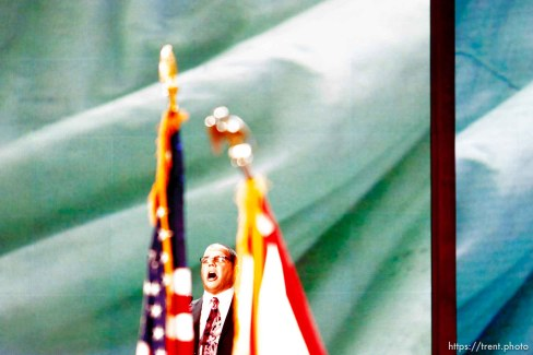 Trent Nelson | The Salt Lake Tribune Philip Alongi sings the national anthem on the first day of the Republican National Convention in Tampa, Florida, Tuesday, August 28, 2012.