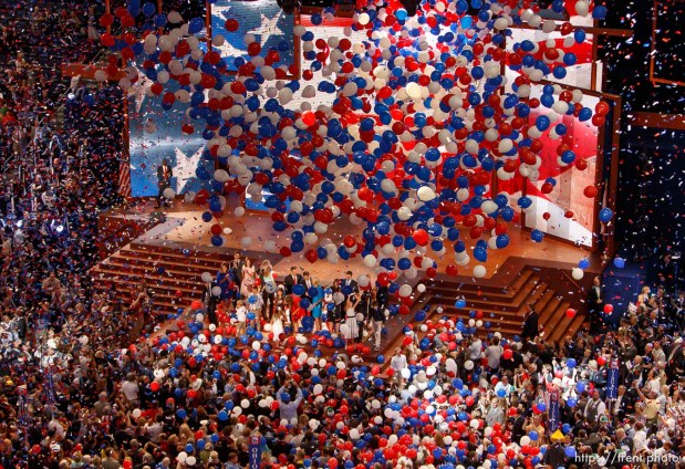 Trent Nelson | The Salt Lake Tribune balloons, confetti, ryan and romney families at the Republican National Convention in Tampa, Florida, Thursday, August 30, 2012.
