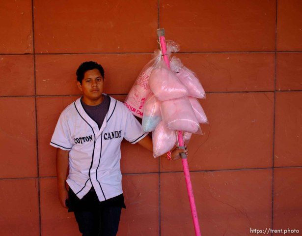 Trent Nelson | The Salt Lake Tribune cotton candy seller as Utah hosts BYU college football in Salt Lake City, Utah, Saturday, September 15, 2012.