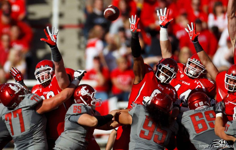 Trent Nelson | The Salt Lake Tribune Utes leap to try to block a field goal as Utah hosts Washington State, college football at Rice-Eccles Stadium Saturday November 3, 2012 in Salt Lake City.