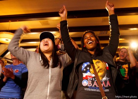Trent Nelson | The Salt Lake Tribune Sophia Ty and Toree Green celebrate apparent wins by Jim Matheson and Ben McAdams at the Salt Lake Sheraton Hotel, Democratic headquarters on election night Tuesday November 6, 2012 in Salt Lake City.