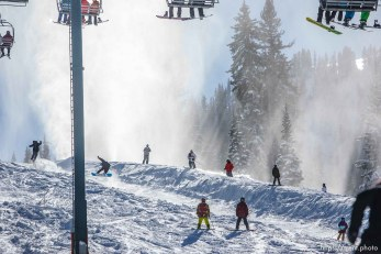 Trent Nelson | The Salt Lake Tribune The ski lifts are full on opening day at Brighton Ski Resort, Tuesday November 13, 2012 in Brighton.