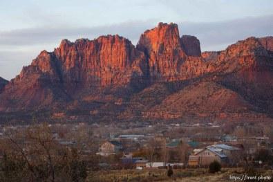 Trent Nelson | The Salt Lake Tribune The sun sets on the community of Colorado City, Arizona and Hildale, Utah Thursday November 29, 2012.