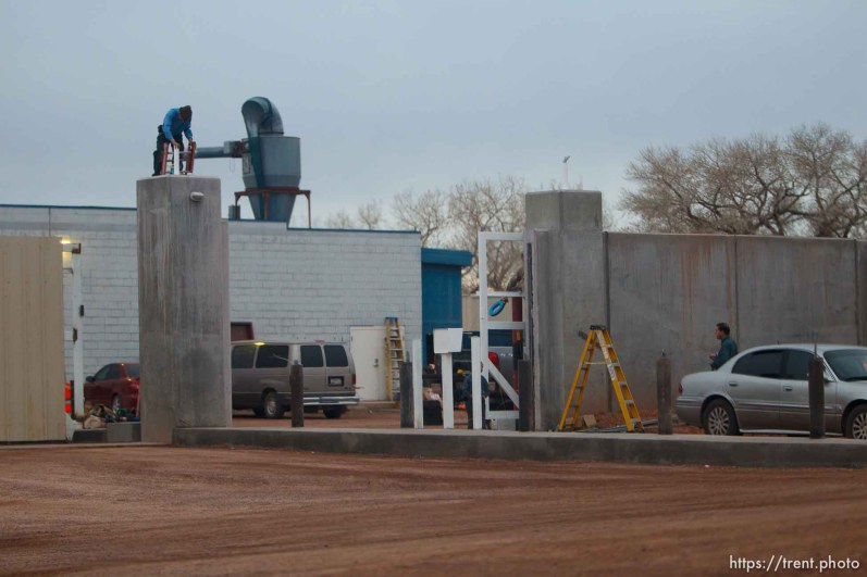 Trent Nelson | The Salt Lake Tribune construction of security gate at FLDS printing location Friday November 30, 2012 in Colorado City.