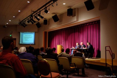 Trent Nelson | The Salt Lake Tribune UEP community meeting Friday November 30, 2012 in Colorado City. Mark Shurtleff, Bruce Wisan, Bill Richards